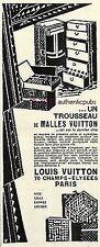 PUBLICITE LOUIS VUITTON MALLE ARMOIRE TROUSSEAU VOYAGE AUTO DE 1925 FRENCH AD
