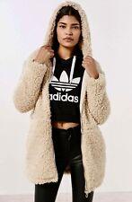 NEW Urban Outfitters BDG ivory Oversize Faux Fur Sherpa Hood Zipper Coat M