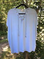Michael Kors Baby Blue Lace Up Neck Top Blouse Stretch Career Wear Sz XL EUC