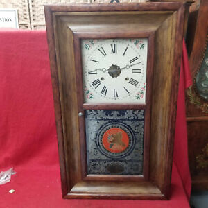 E. N. Welch OG Striking Weight Driven Clock With Reverse Painted American Flag