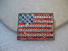 "USA Rhinestone  Flag Brooch, Red/White(clear)/Blue, 1.5"" by 1.25"""