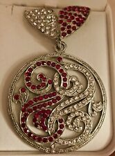 Winged Initial Medallion Brooch 3� In Vintage Art Deco Red Diamanté Rock Crystal