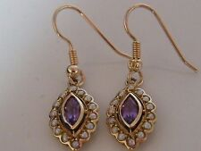 9K GOLD AMETHYST & SEED PEARL DROP EARRINGS