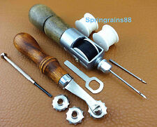 2 Sets Leather Craft Sewing Automatic Lock Awl Thread Over Stitching Wheel Tool