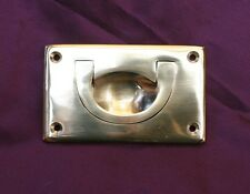 Large Solid Brass Flush Chest Handle Cabinet Drawer Pull 90mm x 55mm With Screws