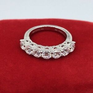 Judith Ripka 925 Sterling Silver Diamonique 7-Stone Round Band Ring BR009)Size 6
