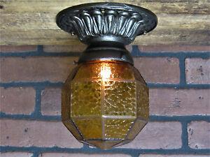 "Vintage Antique Bungalow Ceiling Porch Light Cast Iron amber Shade UL 8 5/8""L"