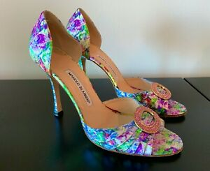 Manolo Blahnik Sedaraby D'Orsay Shoes Floral Pink Jewels 39 1/2 Carrie Bradshaw