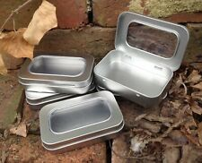 Rectangle Metal Tin with Window Hinged Lid 50ml *Survival Storage Box *NEW
