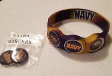 Wrist Skins Golf Ball Marker Bracelet, US Navy, Magnetic, Size XLarge & Medium