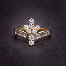 Pave 0.85 Cts Natural Diamonds Anniversary Ring In Fine Hallmark 18K Yellow Gold