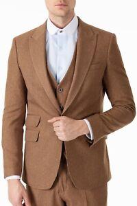 Jack Martin - Peaky Blinders Style - Tan Brown Tweed Tailored Fit 3 Piece Suit