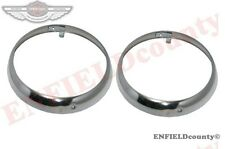 "2HEADLIGHT RETAINING CHROME PLATED BEZEL RIM TRIM 8"" WILLYS JEEP TRUCK @ECspares"