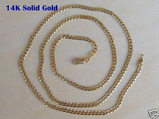 """14K Solid Yellow Gold 3mm Cuban Link Chain Necklace Men Women Size 14""""-36"""""""