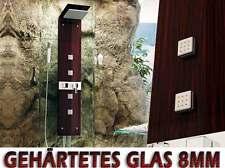 669 DUSCHPANEEL gehärtetes Glas, DUSCHSÄULE, MASSAGEDÜSEN, REGENDUSCHE, WENGE