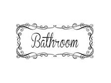 "BATHROOM SCROLL BORDER Wall Decal Lettering Words Sticker Stencil 17"" X 10"""
