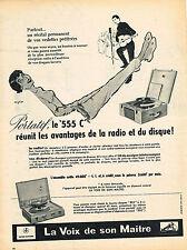 PUBLICITE ADVERTISING 015  1956  LA VOIX DE SON MAITRE éléctrophone portatif