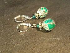Ohrringe versilbert türkis Marmor  ***handmade***
