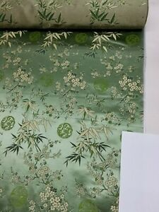 Fabric Silk Brocade olive and color Gold Season Floral  -by half yard-