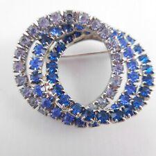 Vintage Triple Ring of Rhinestones Brooch Pin Hand Soldered Chain Link