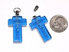 1pc Blue religious Cross vial necklace pendant small glass bottle Screw cap NEW