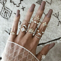 Retro 12Pcs/Set Gold Boho Crystal Rhinestone Midi Finger Knuckle Rings JeweAUIT