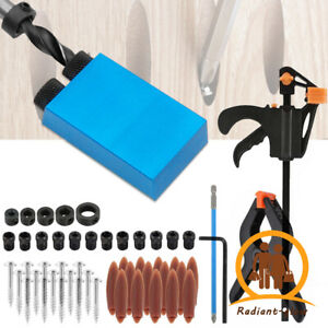 57pcs Silverline Pocket Hole Screw Jig Kit Woodworking Guide Drill Angle Locator