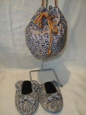 Joan Boyce Gold/Black Animal Print Fold-Up 12M Shoes/Flats & Purse/Bag