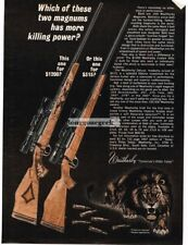 1966 Weatherby Custom and Deluxe 300 Magnum Rifle Wild Lion art Vtg Print Ad