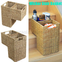 US 16x8x16.5'' Wicker Handwoven Stair Step Storage Basket Container Carry