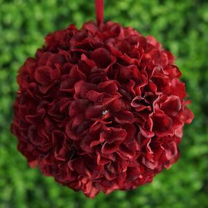 "4 Wine Hydrangea 7"" wide Kissing Balls Wedding Party Bouquets Centerpieces SALE"