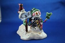 Clayworks Blue Sky Snowman Tea Light Votive Candle Holder