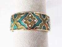 "Premier Designs Jewelry ARABESQUE 7.5"" Antique Gold Enamels Crystal Bracelet"