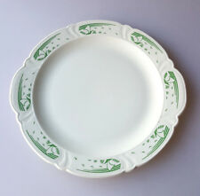 Taylor Smith Taylor Art Deco cake plate round platter green stylized ships VTG