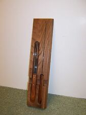 J.W. & S. Carving set Knife and Fork with Oak Holder