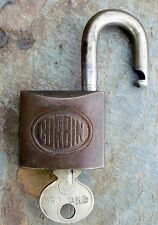 Antique1909 Patent Dated  Bronze & Steel Corbin Padlock & Key