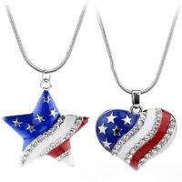 Kristall Herz Fünfzackiger Stern USA-Flaggen-Anhänger Emaille