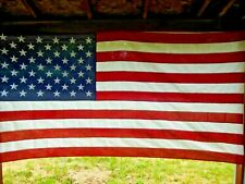 Large U.S. American Flag 50 Embroidered Stars Cotton Canvas 5' X 9.5' (Usa Made)