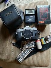 Minolta SR-1  35mm SLR Film Camera, Case, Film, Strap + Vivitar 2000 Flash Unit
