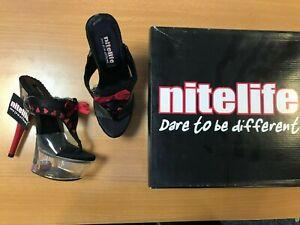 Nitelife Rude Women's Platform Heels Stiletto Thong Shoes Black Red UK Size 3