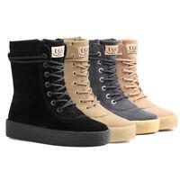 NOCK UGG Women Boots Water Resistant Australia Sheepskin High Lace-Up Sneaker