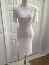 SCALA White HEAVILY SEQUIN BEADED  DRESS Open Back No Size Tag. S?