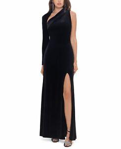 Betsy & Adam Women's Gown Black Size 10 One Shoulder Velvet Slit $229 #453