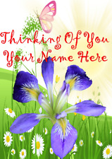 Iris he10 Pretty Garden Flowers Personalised a5 Card Sympathy Thinking Of You