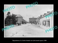 OLD LARGE HISTORIC PHOTO OF BAGENALSTOWN CARLOW IRELAND, MARKET SQUARE c1900