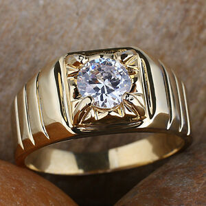 Men's Gold Plated Finger Ring Round Solitaire Stone Size Selectable Nice Carve