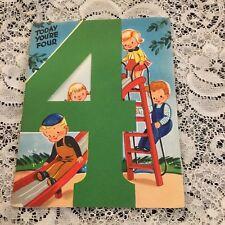 Vintage Greeting Card Birthday 4th Kids Ladder Playground
