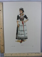 Rare Original VTG Wally Lady With Rosary Religious Color Fashion Litho Art Print