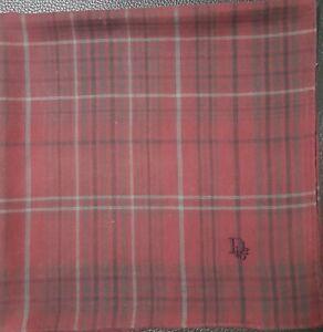 "Christian DiorUnisex Plaid Checks Grid Red Cotton Square Handkerchief 17"""