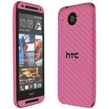 Skinomi Carbon Fiber Pink Skin Cover+Clear Screen Protector for HTC Desire 601